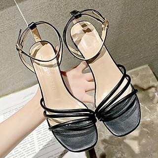 Giày xăng đan nữ quai chéo trước gót nhỏ 7cm quai hậu cách điệu  da PU mềm C04
