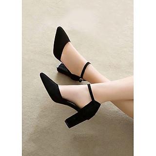 Giày / Sandal Cao Gót Nữ Da Nỉ Cao Cấp Cài Quai Viền Đen Đế Vuông Cao 7p- CTG8504