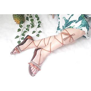 Giày sandal chiến binh thổ cẩm cột dây tua rua