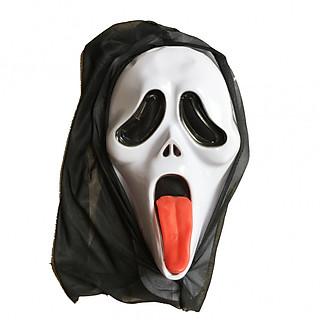 Mặt nạ sát nhân giấu mặt lưỡi đỏ có vải chùm hóa trang Halloween
