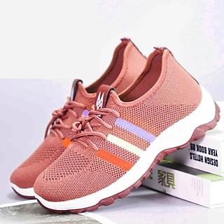15T053 - Giày thể thao dành cho nam và nữ chất liệu vải sợi co dãn có đế cao su màu hồng đi chơi đi học siêu dễ thương