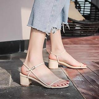 Giày Cao Gót Vuông 5p Quay Mảnh Nối Gót