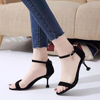 Giày Nữ Sandal Cao Gót Đẹp Da Nhung Hở Mũi Quai Mảnh Bít Gót Đế Nhọn 7 Phân Êm Chân Phong Cách Hàn Quốc  CTS-CG
