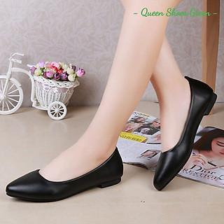 Giày búp bê nữ giày đế bệt da mềm mũi nhọn màu đen đế cao su đúc siêu mềm size 35 đến 40