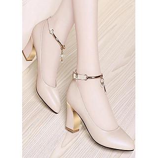 Giày gót vuông bít mũi phối lắc sang trọng