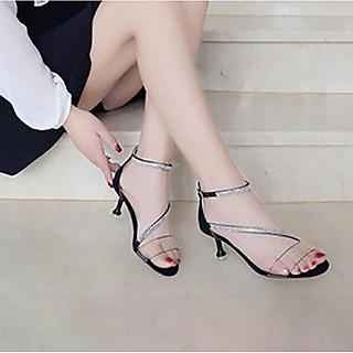 Giày cao gót nữ đẹp sandal 5 phân bản trong chéo xoàn đế nhọn hở đầu