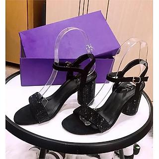 Giày sandal cao gót 7 cm quai ngang đính đá MT98