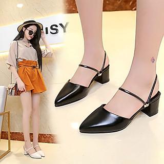 Giày cao gót nữ đẹp 5 phân công sở da mềm 2 dây