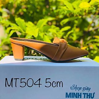 [ Shop giày somina ] Sục bít mũi nơ gót 5cm MT504