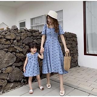 đầm đôi cho mẹ và bé chấm bi cổ điển