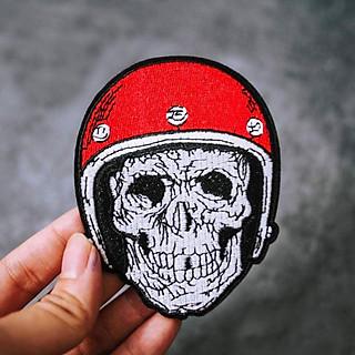 Patch ủi sticker vải - Đầu lâu mũ bảo hiểm đỏ