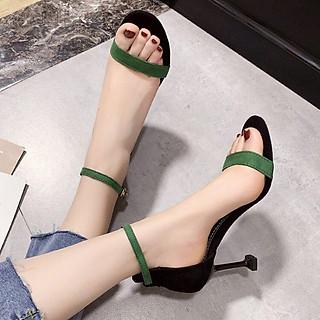 Sandal Cao Gót Nữ Quai Ngang Bản Nhỏ CG29