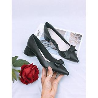 Giày cao gót nơ da mềm cao cấp trụ 4cm màu đen