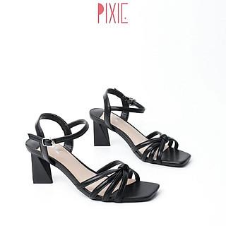 Giày Sandal Cao Gót Đế Vuông Quai Thắt Pixie X570