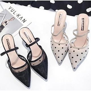 Sandals mũi nhọn bít gót nhỏ 5cm quai hậu chất ren lưới họa tiết chấm bi sang chảnh C29 có thể đi được kiểu sandals hoặc guốc