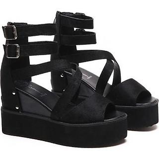 Giày Sandal nữ đế xuồng cá tính 040SD (Đen)