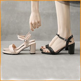 Sandal cao gót nữ đế vuông 7 phân hở mũi quai ngang mũi tròn da bóng Cao Cấp H0506