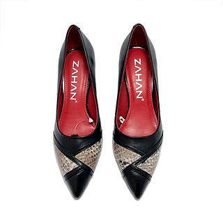 Giày cao gót ZAHAN 5cm, phối da trăn CGZA13
