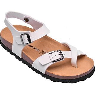 Giày Sandal Xỏ Ngón Da Pu Trắng Đế Trấu HuuCuong