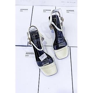 Giày Sandal Nữ Gót Vuông 7p Quai Trong