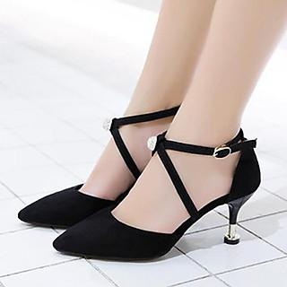Giày cao gót nữ đẹp 7 phân bít mũi chéo gót đính hạt châu đen