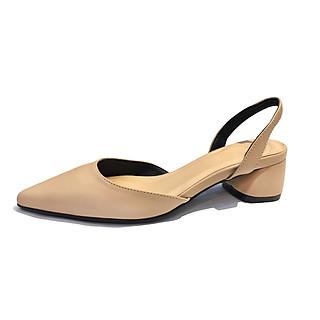 Giày nữ, giày cao gót slingback mũi nhọn kiểu dáng basic gót vuông vững chắc cao 5cm - SLBE