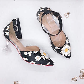 Giày Cao Gót Nữ Đẹp PN Hoa Cúc Đế Trong Suốt 7 Phân Phong Cách Thời Trang.
