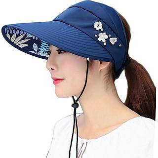 Mũ rộng vành đi biển chống nắng đính ngọc trai xinh xắn cho nữ