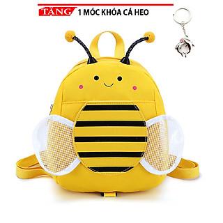 Balo cho trẻ em dễ thương đi học in hình ong vườn hoa thời trang kèm dây chống đi lạc tặng móc khóa cá heo