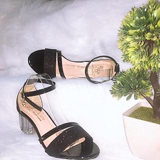 Giày Cao Gót Đế Vuông Trong Suốt Nữ Đẹp Quai Ánh Kim Tuyến Sang Trọng Cao 5 phân PN105-002 (Hình thật, tặng ví dài cầm tay da cao cấp ngẫu nhiên)