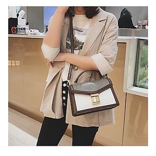 Túi xách tay đeo chéo nữ thời trang T50 phối 2 màu size 22x16x9cm