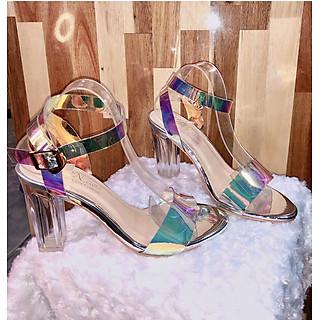 Giày Sandal Cao Gót Quai Chéo Mica Nhập Lấp Lánh Đế Trụ Trong Suốt Cao Cấp 9 phân CTQ801