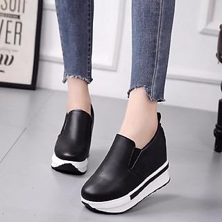 Giày Sneakers Nữ Độn Đế 8cm Da PU Mã H79