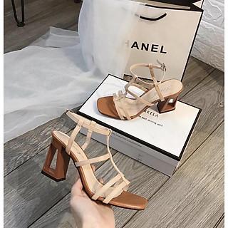 Giày cao gótnữ đế khoét lỗ cá tính, sandal giày cao gót nữ hở mũi chuẩn size 35-40 màu kem và đen gót cao 7p