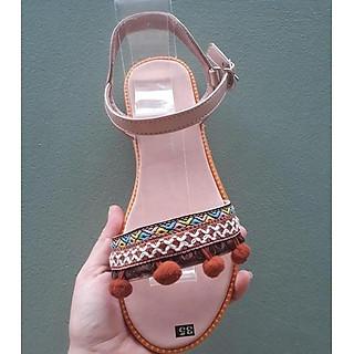 Giày sandal thổ cẩm phong cách rentro quai gài đi biển hình thật