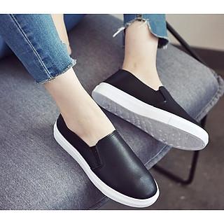 Giày slip on nữ da trơn đế thấp - Giày lười nữ S150