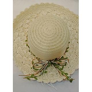 Mũ cói đi biển, Nón cói nữ, Mũ cói tiểu thư rộng vành ( Màu trắng)