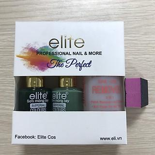 Bộ sơn Móng Tay ELITE MS 50 (gồm hai màu Xanh rêu 154 - Xanh lá 115) - Nước Rửa - Dũa