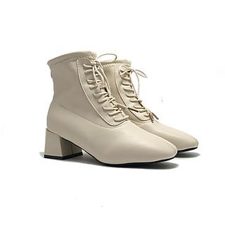 Boots nữ, 5cm, mũi vuông, dây buộc, Boots09
