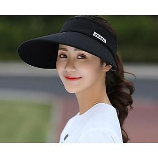 nón chống nắng nửa đầu phong cách Hàn, mũ rộng vành chống nắng thời trang màu đen