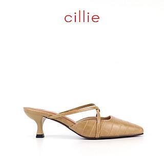 Giày sandal quai ngang cao 7cm gót trụ Cillie 1103