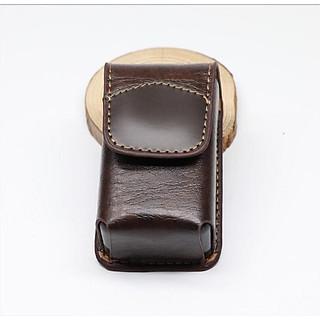 Hộp đựng kính gập da bò thủ công cao cấp có vạt đeo hông cực tiện màu nâu