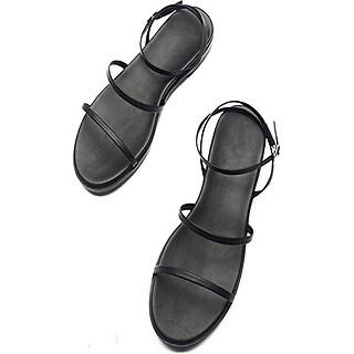 Sandal Nữ Quai Mảnh Đế Bệt Black Basic