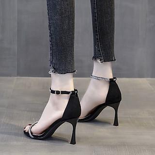 Giày sandal cao gót nữ quai mảnh đính đá cao cấp - Giày nữ gót cao 7cm - Giày cao gót nữ da mềm 2 màu Đen và Kem - Linus LN272
