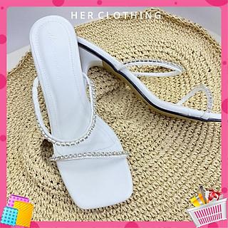 Giày cao gót màu trắng mũi vuông cao 5cm siêu xinh