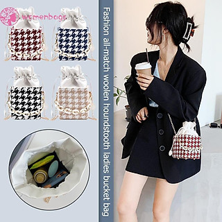 WB✿Retro Plaid Shoulder Bag Women Woolen Bucket Chain Small Messenger Handbag