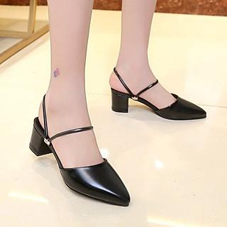 Giày Búp Bê Nữ Đẹp Hai Kiểu Mang Bít Mũi Đế Vuông 5 Phân Phong Cách Hàn Quốc.