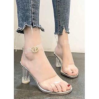 Giày / Sandal Cao Gót Nữ Trong Suốt Cao Cấp Cài Quai Đế Vuông Cao 7p- CTG9506