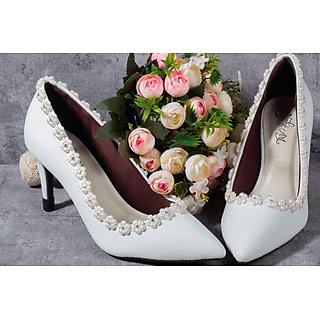 Giày cưới nữ Nghé Art cao gót lưới viền hoa 188