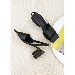 Giày Sandal Nữ Hở Mũi Bo Sườn Hậu Thun Gót Trụ 5P Da Vân Sang Chảnh
